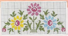 Here you can look and cross-stitch your own flowers. Easy Cross Stitch Patterns, Cross Stitch Borders, Cross Stitch Designs, Cross Stitching, Cross Stitch Embroidery, Embroidery Patterns, Crochet Patterns, Cross Stitch Fruit, Cross Stitch Heart