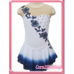 New gorgeous Ice figure skating dress  102-1A -cheap white flower short sleeves ice skating dress