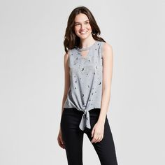 2e1d22b6cf1 Women s Star Gazer Tie Front Neck Cut-Out Graphic Tank Top - Modern Lux ( Juniors ) Heather Gray Xxl