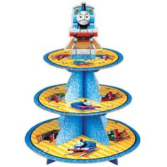 Get ready for a real fun time with Thomas the Train Engine and his friends! This cupcake stand is made of sturdy cardboard and holds 24 cupcakes. It also makes
