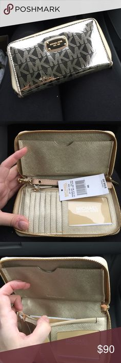 Medium Gold MK zip clutch/wallet Brand new with tags ! Slot for phone inside ! Zipper around doubles as clutch and wallet ... shiny Gold MK signature design ... accepting reasonable offers ! MICHAEL Michael Kors Bags Clutches & Wristlets