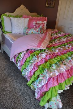 Pink, Green, and White Ruffled Garden Bedding - Satin