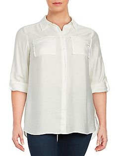 VINCE CAMUTO TEXTURED BUTTON-FRONT SHIRT. #vincecamuto #cloth #