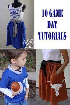 10 great game day tutorials in this round up - everything from game day dresses to food and clothes for kids.