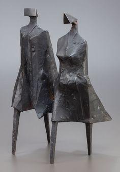 LYNN CHADWICK (British, 1914-2003). Walking Couple III,1987. Bronze with black patina