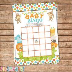 safari animals baby shower bingo game printable instant download jungle baby shower activities jungle theme baby bingo card