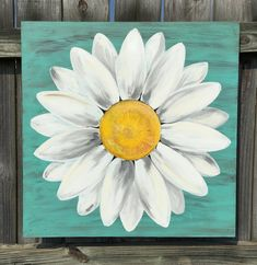 Original Daisy Painting on a Wood Panel Turquoise Blue Daisy Painting, Tole Painting, Painting On Wood, Painting Tips, Blue Daisy, Rustic Art, Painted Boards, Your Paintings, Flower Paintings