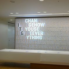 When approached to work alongside Principle on a word wall for the London offices of ITG. It was an opportunity for us to use our extensive knowledge of the LED illumination of acrylic and combining it with HI-MACS to create a truly unique feature wall. Stand Design, Booth Design, Wall Design, Environmental Graphic Design, Environmental Graphics, Donor Wall, Office Signage, Wayfinding Signs, Illuminated Signs