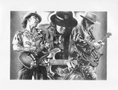 Stevie Ray Vaughn Double Trouble Texas Flood In Step Sketch Rare Poster Print
