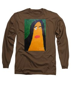 Patrick Francis Designer Coffee Long Sleeve T-Shirt featuring the painting Portrait Of Woman With Hair Loose - After Vincent Van Gogh by Patrick Francis