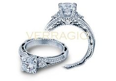 From the Venetian Collection by designer, Verragio, comes this elegant diamond engagement ring. Set in 14 karat white gold, this ring features a total weight of .45 carats of pave' set round brilliant-cut diamonds to compliment a round center stone. This Verragio Engagement Ring is available in gold, platinum and 18 karats.