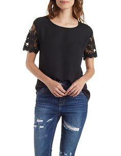 Mesh and Lace Short Sleeve Top: Charlotte Russe
