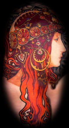 Alphonse Mucha Tattoo