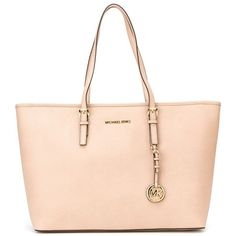MICHAEL MICHAEL KORS 'Jet Set Travel' tote ($367) ❤ liked on Polyvore featuring bags, handbags, tote bags, leather travel tote, pink leather purse, genuine leather handbags, leather handbags and leather purse