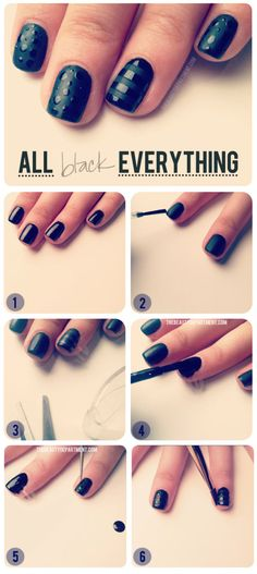 """Paint nails with black polish. Paint matte topcoat over nails (remember not to make your base coat too thick) Let dry for an hour. Cut 1/4"""" strips of tape (press tape against fingers so they're less sticky) lay across nails. Paint with original shiny black polish. Using dotting tool for shiny dots on other nails"""
