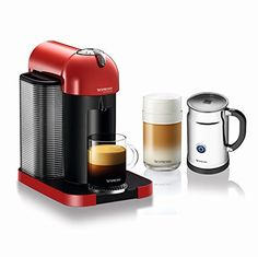 Nespresso A GCA1-US-RE-NE VertuoLine Coffee and Espresso Maker with Aeroccino Plus Milk Frother, Red * For more information, visit image link.
