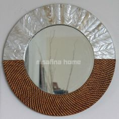 Wall Hang Round Mirror, natural mother of pearl and Rattan mirror frame