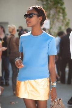 I love this dressed down but beautiful look -- Shala Monroque before Celine, Paris Fashion Week SS 2012