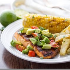 Chili-Rubbed Grilled Salmon with Avocado Salsa- on your plate in 20 minutes!