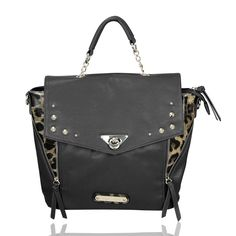 The Mumford Bag by Anna Smith in Black and Leopard Print