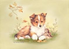 puppy bird by Penny Parker Collie, Images Victoriennes, Penny Parker, Animals And Pets, Cute Animals, Cartoon Pics, Sheltie, Cute Illustration, Dog Art