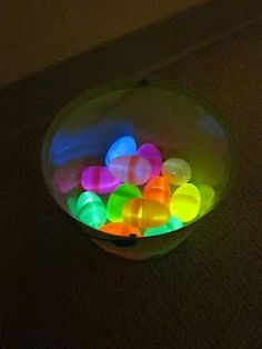 This is a fabulous idea! A friend took small glow sticks and put them in plastic eggs. Then hid them in the house and turned off the lights for the hunt. Must remember this!