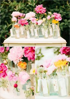 For a garden themed wedding, try using vintage glass bottle vases as escort cards.