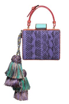 Jewel Box named Kika. Lavender and Poppy Viper snake, Turquoise lucite/gold square closure w/double layer multi color hand made tassels. SS2014