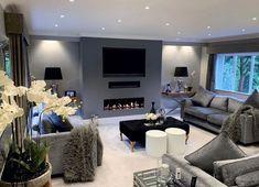 Living Room Sets Furniture, Living Room Grey, Big Living Room Design, Living Room Decor Gray, Cosy Grey Living Room, Living Room Design Modern, Relaxing Living Room, Cosy Living Room, Living Room Tv