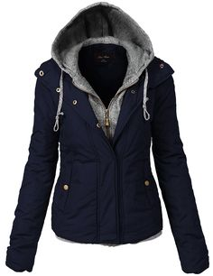 Luna Flower Women's Quilted Two Tone Mix Comfortable Padding Jackets *** You can get more details by clicking on the image.