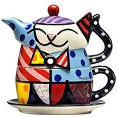 Tea For One, Cat Teapot Romero Britto Saved fromSquidoo Teapots Unique, Tea For One, Tea Pot Set, Teapots And Cups, Ceramic Teapots, Chocolate Pots, Tea Time, Tea Party, Tea Cups