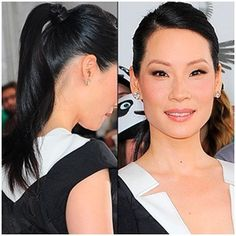 Lucy Liu demonstrates the impact that a simple pony tail can have, and it's definitely a hairstyle that we can all get to grips with at home! So to create a sleek, minimal pony simply use a gloss serum, then straighten your hair and gather up into a high pony taking care to keep it smooth. Finish this hairstyle by wrapping a section of hair around the band for the ultimate finish. You can also experiment to see which parting suits your face shape best...