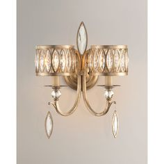 John-Richard Collection Marquis Crystal 2-Light Wall Sconce featuring polyvore, home, lighting, wall lights, champagne, dual light, crystal wall lamp, two bulb lamp, crystal sconces and john richard lamps
