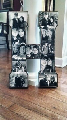 """Simple collage project. Metal """"H"""" from Hobby Lobby, black & white pictures cut to fit perfectly onto the letter, and Mod Podge to secure them on! Pretty happy at the result... Nice little personal touch to your decor. :)"""