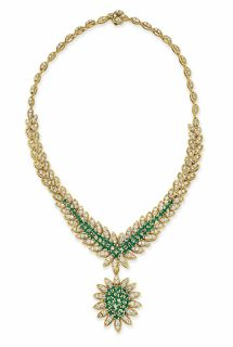 An emerald, diamond and gold pendant necklace by Van Cleef & Arpels. Marie Poutine's Jewels & Royals: Elegant Green Necklaces II