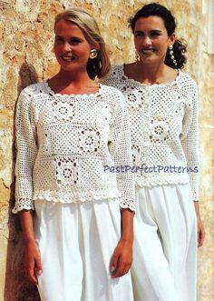 INSTANT DOWNLOAD PDF Vintage Crochet Pattern Granny Square Tops Sweater Jacket Vest Top