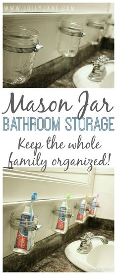 DIY Mason Jar Bathroom Storage