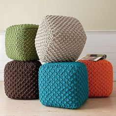 Fern Square Pouf - Adds decorative charm to any interior spaceKnitting Patterns Chunky Square Poufs … good foot rests or casual seating.Square, knit pouf at The Company Store---love.Carrot Square Pouf - A harmonious balance of form and squares Crochet Pouf Pattern, Knitted Pouf, Crochet Cushions, Crochet Pillow, Bean Bag Pattern, Large Floor Cushions, Square Pouf, Ribbon Yarn, Pillows