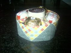 I simply love this lazy susan origami box I made for my cousin to hold a little something sweet...