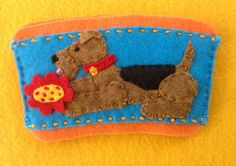 Airedale coffee cozy by Ecotrinkets - Amy Monthei