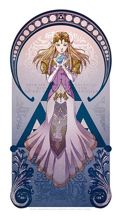Legend Of Zelda: Art Nouveau - Zelda by Melissa Somerville.