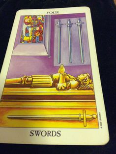 "Card du Jour 4 of Swords from the Radiant Rider Waite Tarot deck updated by Virginijus Poshkus deck advises you to take a step back to recuperate from all the difficult moments that you have been managing. This is a time of  contemplation as you ponder over your next steps and restore your energy to take on the next stretch of challenges. ""Take rest; a field that has rested gives a bountiful crop.""  ~ Ovid #Tarot #Singapore"