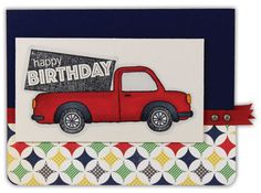 Red Truck Birthday Card by @Crafts Direct Click through link for supply list and project instructions.