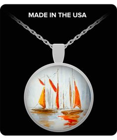 Sailboats In the Sunset Pendant Necklace - Wearable Art - Gift for her - Sailing Boats