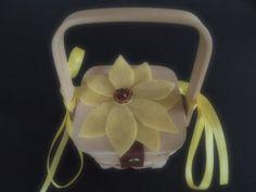 Dog Flower Girl Ring Bearer Basket Wedding Sunflower Yellow Brown #flowergirlbasket  by ArtisanFeltStudio, $15.00