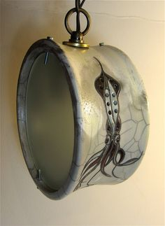 Raku Luminary / Hanging Lamp with mosaic- style Humboldt Squid design by davidroon