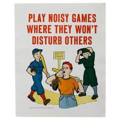 Check out this item at One Kings Lane! Noisy Games Manners Poster