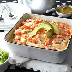 Salsa Verde Chicken Casserole Recipe -This is a rich and surprisingly tasty rendition of all the Tex-Mex dishes molded into one packed, beautiful casserole. Best of all, it's ready in no time! —Janet McCormick, Proctorville, Ohio