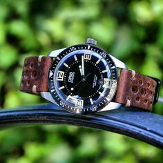Oris Diver 65 on a B & R Bands Chestnut Vintage Racing Strap #bandrbands…