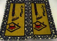 Set Of 2 Japanese Hand Made Paper Mache Wall Hanging/Canape Trays W/ Embroidery